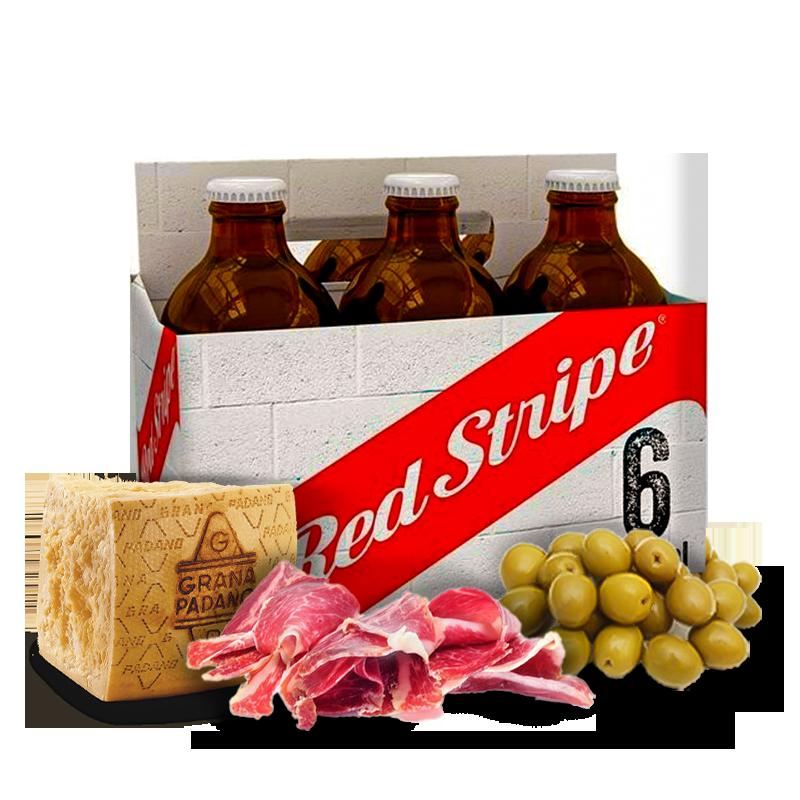 Combo Cerveja Red Stripe, Queijo, Presunto e Azeitona