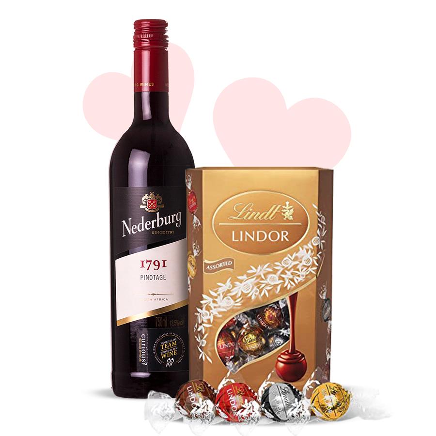 Combo do Casal Vinho Pinotage e Lindt