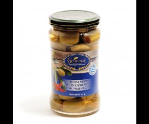 Azeitonas Verdes Recheadas com Pimentão Gourmet Mediterranean 165g